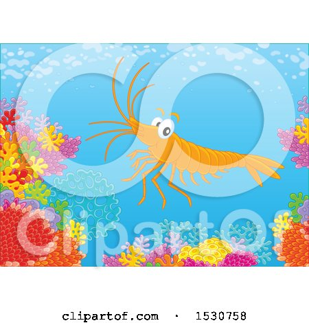 Clipart of a Happy Shrimp Swimming over a Coral Reef - Royalty Free Vector Illustration by Alex Bannykh