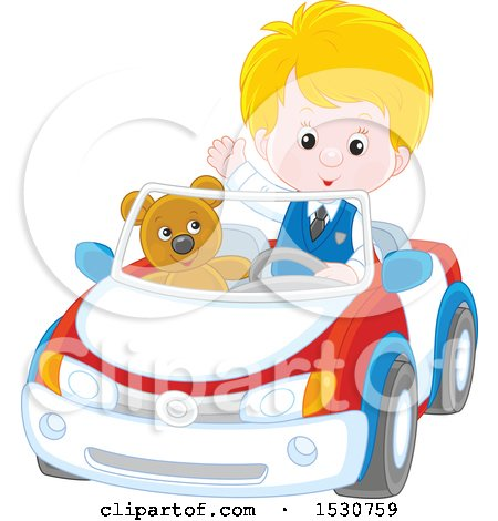 Clipart of a Blond White Boy Playing and Driving His Teddy Bear Around in a Car - Royalty Free Vector Illustration by Alex Bannykh