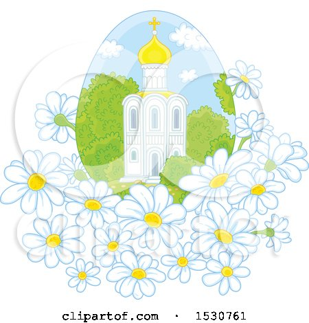 Clipart of a Beautiful Church in an Egg Shaped Frame with Daisy Flowers - Royalty Free Vector Illustration by Alex Bannykh