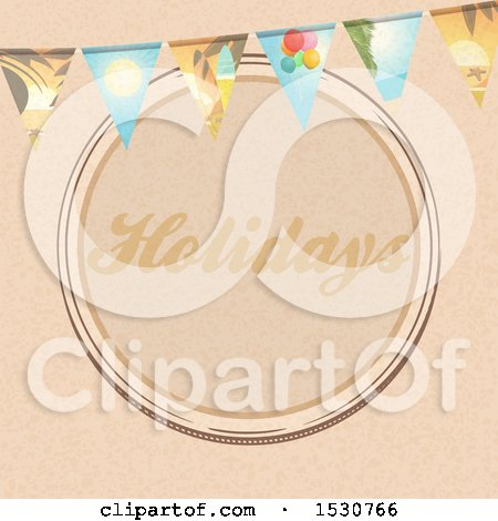 Clipart of a Brown Paper Holidays Circle Design with a Travel Themed Bunting Banner - Royalty Free Vector Illustration by elaineitalia