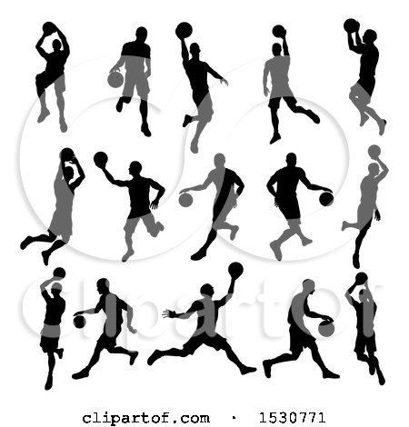 Clipart of Silhouetted Basketball Players - Royalty Free Vector Illustration by AtStockIllustration