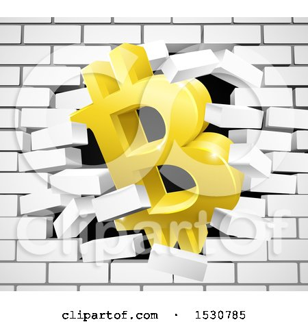 Clipart of a 3d Gold Bitcoin Currency Symbol Breaking Through a White Brick Wall - Royalty Free Vector Illustration by AtStockIllustration