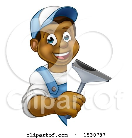 Clipart of a Cartoon Happy Black Male Window Cleaner Holding a Squeegee Around a Sign - Royalty Free Vector Illustration by AtStockIllustration