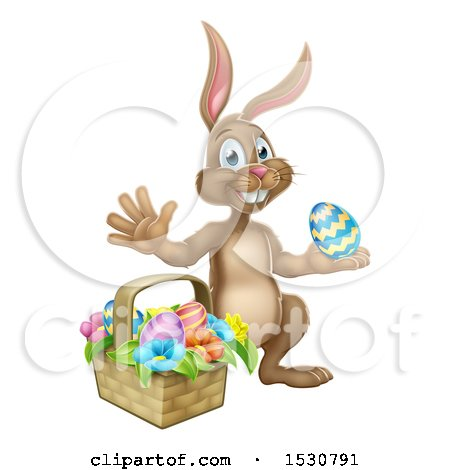 Clipart of a Happy Brown Easter Bunny Rabbit with a Basket and Eggs - Royalty Free Vector Illustration by AtStockIllustration