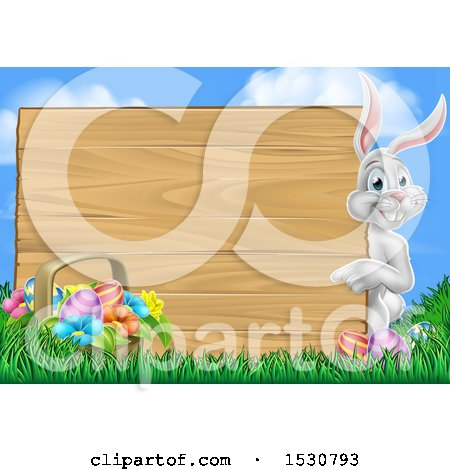 Clipart of a Happy White Easter Bunny Rabbit Pointing Around a Wood Sign Against Sky - Royalty Free Vector Illustration by AtStockIllustration