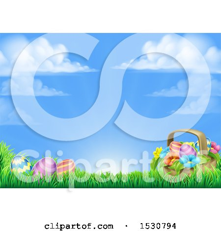 Clipart of a Background of a Basket and Easter Eggs with Flowers in Grass - Royalty Free Vector Illustration by AtStockIllustration