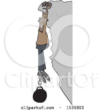 Clipart of a Cartoon Black Man Hanging from a Cliff with a Ball and Chain Attached to His Ankle - Royalty Free Vector Illustration by djart