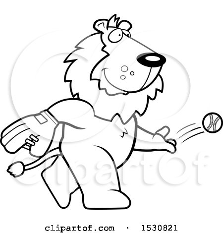 Clipart of a Cartoon Black and White Lion Baseball Pitcher - Royalty Free Vector Illustration by Cory Thoman