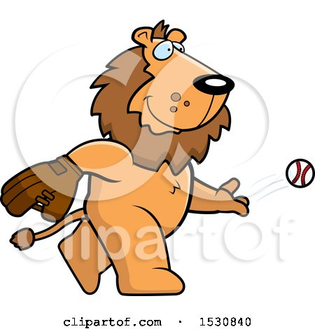 Clipart of a Cartoon Lion Baseball Pitcher - Royalty Free Vector Illustration by Cory Thoman