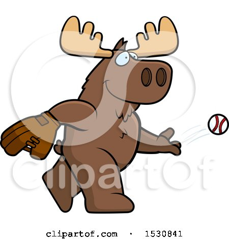 Clipart of a Cartoon Moose Baseball Pitcher - Royalty Free Vector Illustration by Cory Thoman
