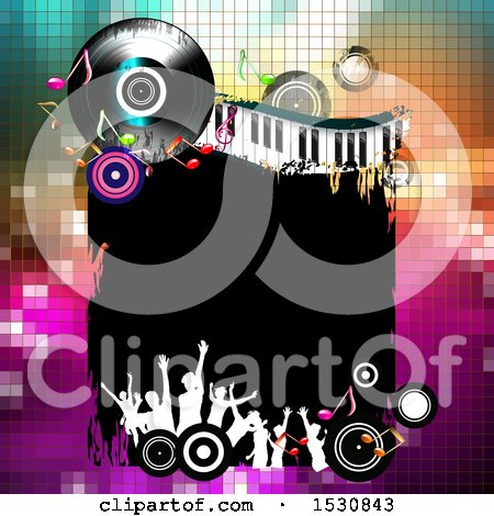 Clipart of a Border with Vinyl Record Lp Albums, Music Notes, a Keyboard and Silhouetted Party People over Gradient - Royalty Free Vector Illustration by merlinul