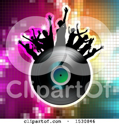Clipart of a Vinyl Record Lp Album with Silhouetted Party People over Gradient - Royalty Free Vector Illustration by merlinul