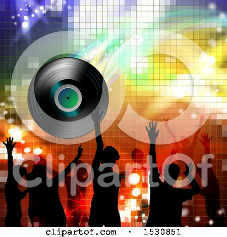 Clipart of a Vinyl Record Lp Album over Silhouetted Party People over Gradient - Royalty Free Vector Illustration by merlinul