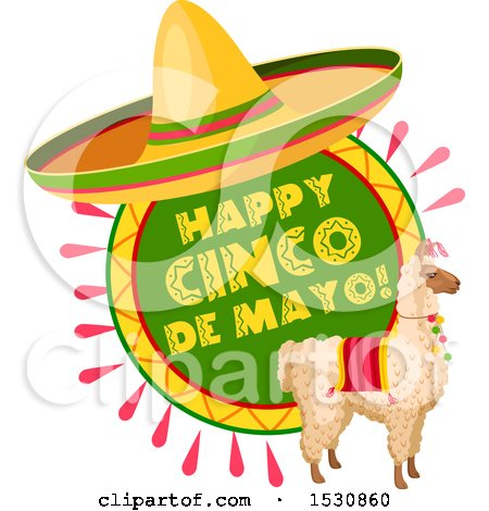 Clipart of a Mexican Sombrero Hat over a Cinco De Mayo Design with a Llama - Royalty Free Vector Illustration by Vector Tradition SM