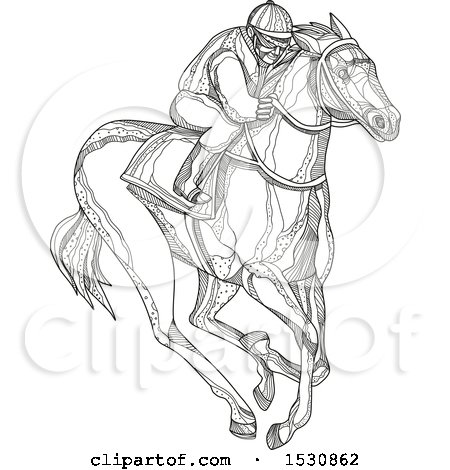Clipart of a Sketched Jockey Racing a Horse - Royalty Free Vector Illustration by patrimonio