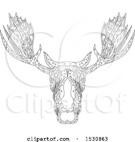 Clipart of a Zentangle Sketched Bull Moose Head - Royalty Free Vector Illustration by patrimonio