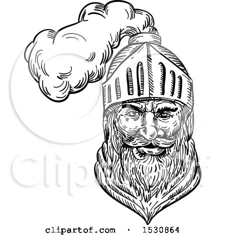 Clipart of a Sketched Medieval Knight or Soldier - Royalty Free Vector Illustration by patrimonio