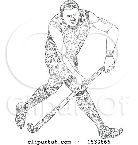 Clipart of a Sketched Field Hockey Athlete in Action - Royalty Free Vector Illustration by patrimonio
