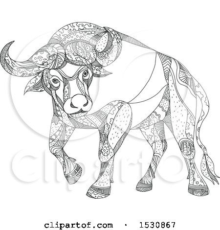 Clipart of a Sketched Cape Buffalo in Black and White - Royalty Free Vector Illustration by patrimonio