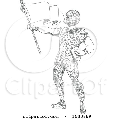 Clipart of a Sketched American Football Quarterback Holding a Flag - Royalty Free Vector Illustration by patrimonio