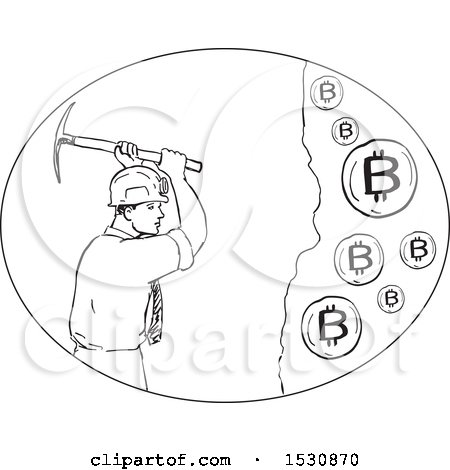 Clipart of a Sketched Bitcoin Miner Swinging a Pickaxe - Royalty Free Vector Illustration by patrimonio