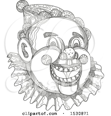 Clipart of a Sketched Circus Clown Face in Black and White - Royalty Free Vector Illustration by patrimonio