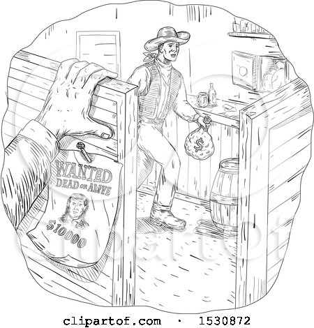 Clipart of a Sketched Western Scene of a Cowboy Robber in a Saloon - Royalty Free Vector Illustration by patrimonio