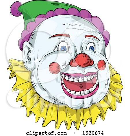 Clipart of a Sketched Circus Clown Face - Royalty Free Vector Illustration by patrimonio