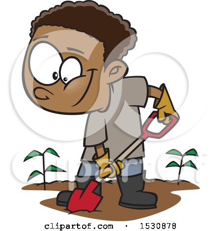 Clipart of a Cartoon African American Boy Digging in a Garden - Royalty Free Vector Illustration by toonaday