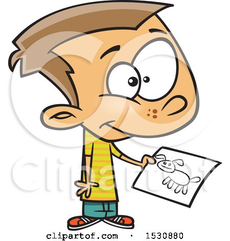 Clipart of a Cartoon Caucasian Boy Holding a Drawing of a Dog - Royalty Free Vector Illustration by toonaday