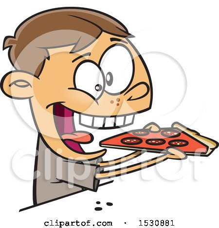 Clipart of a Cartoon Caucasian Boy Enthusiastically Eating Pizza - Royalty Free Vector Illustration by toonaday