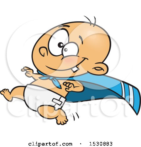 Clipart of a Cartoon Caucasian Super Baby Running in a Cape - Royalty Free Vector Illustration by toonaday