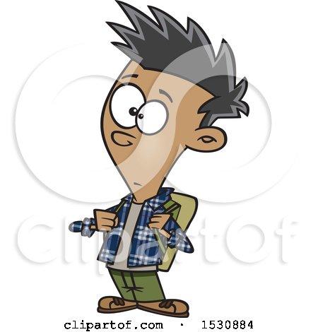 Cartoon Casual Teenage Boy Wearing a Backpack Posters, Art Prints