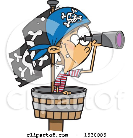 Clipart of a Cartoon Caucasian Boy Pirate Using a Telescope in a Crows Nest - Royalty Free Vector Illustration by toonaday