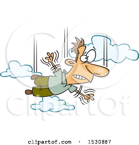 Clipart of a Cartoon Man Falling and Taking a Leap of Faith - Royalty Free Vector Illustration by toonaday
