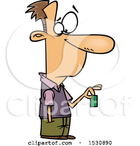 Clipart of a Cartoon Caucasian Man Holding a Devalued Dollar - Royalty Free Vector Illustration by toonaday