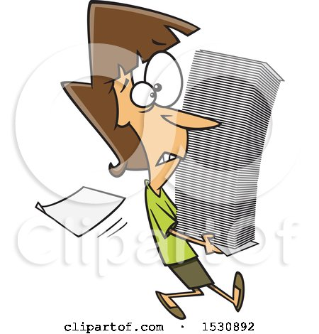 Clipart of a Cartoon Caucasian Woman Carrying a Stack of Paperwork - Royalty Free Vector Illustration by toonaday