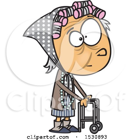 Clipart of a Cartoon Caucasian Senior Girl Using a Walker - Royalty Free Vector Illustration by toonaday