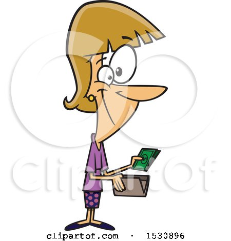 Clipart of a Cartoon Caucasian Woman Holding Cash from a Wallet - Royalty Free Vector Illustration by toonaday