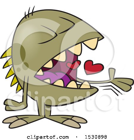 Clipart of a Cartoon Monster Swallowing Hearts - Royalty Free Vector Illustration by toonaday