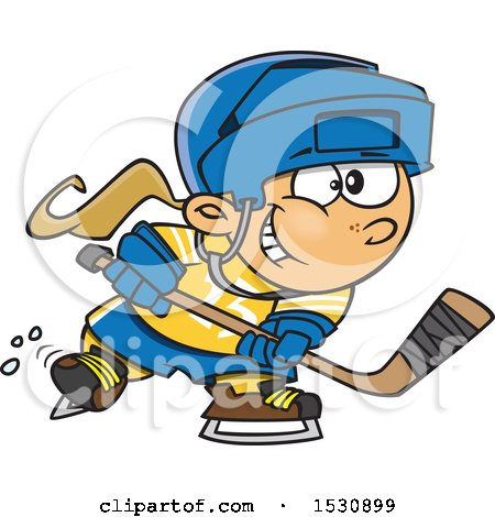 Clipart of a Cartoon Caucasian Girl Playing Hockey - Royalty Free Vector Illustration by toonaday