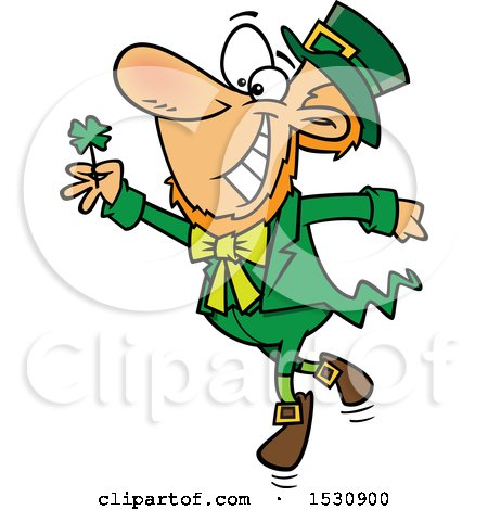 Clipart of a Cartoon St Patricks Day Leprechaun Dancing with a Four Leaf Clover - Royalty Free Vector Illustration by toonaday