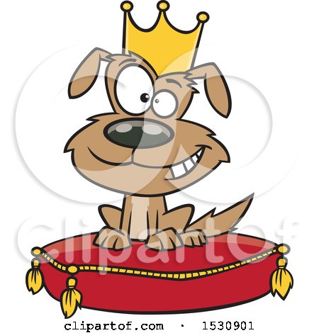 Clipart of a Cartoon Pampered Dog Wearing a Crown and Sitting on a Pillow - Royalty Free Vector Illustration by toonaday