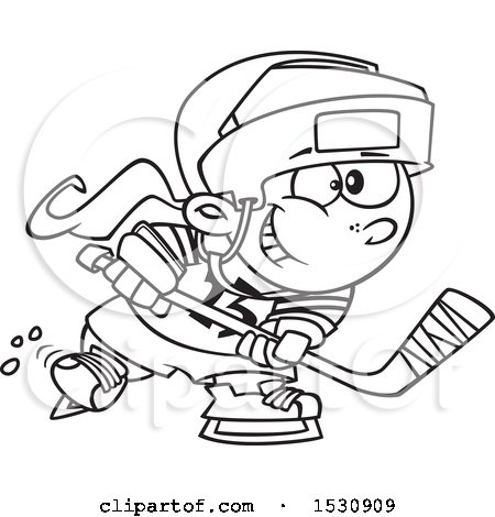Clipart Of A Cartoon Outline Girl Playing Hockey