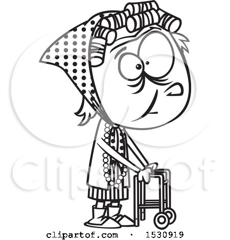 Clipart of a Cartoon Outline Senior Girl Using a Walker - Royalty Free Vector Illustration by toonaday