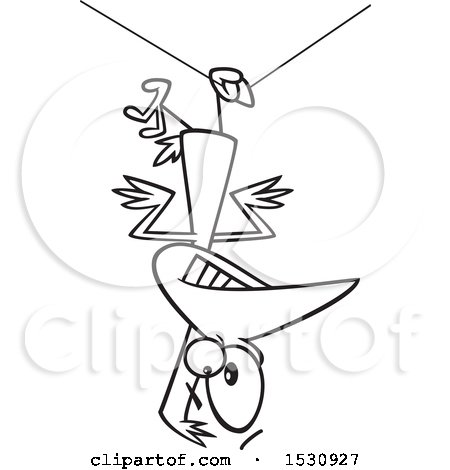 Clipart of a Cartoon Outline Clumsy Bird Hanging Upside down from a Wire - Royalty Free Vector Illustration by toonaday