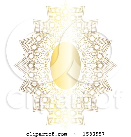 Clipart of a Gradient Golden Ornate Frame - Royalty Free Vector Illustration by KJ Pargeter