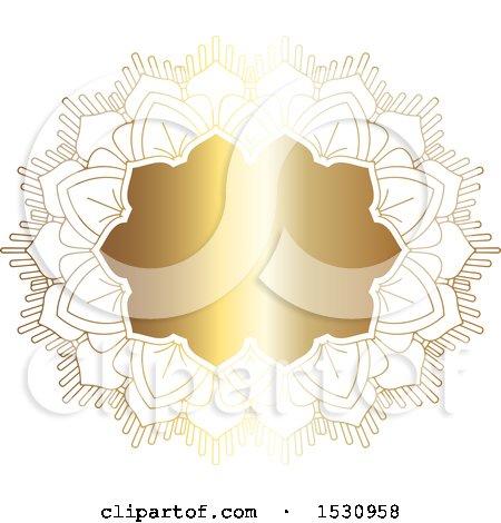 Clipart of a Gradient Golden Ornate Frame - Royalty Free Vector Illustration by KJ Pargeter