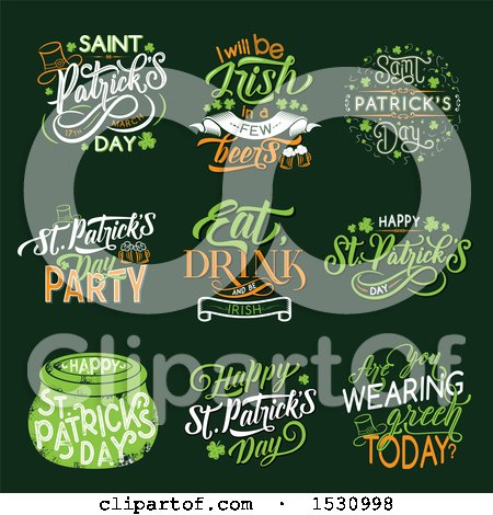 Clipart of St Patricks Day Design Elements on Green - Royalty Free Vector Illustration by Vector Tradition SM