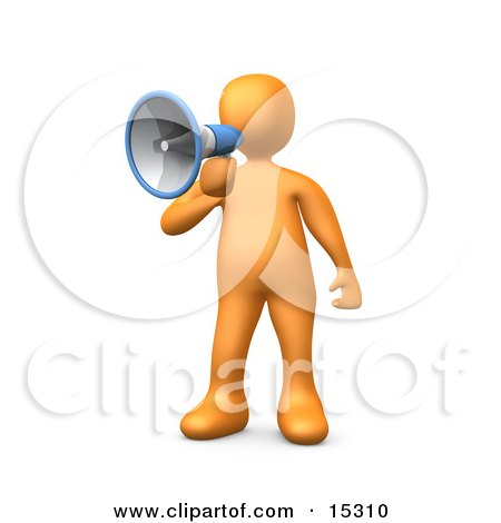 Orange Person Speaking Through A Megaphone Clipart Illustration Image by 3poD